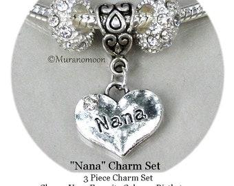 Nana Aunt Mom Sister Grandma Mother Daughter Dangle Charm Birthstone Crystal Large Big Hole Pendant Heart Charm fit European Bracelet