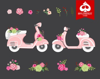 Flower vespa Digital Clipart for Personal and Commercial Use