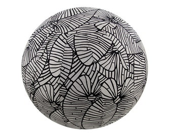 65cm Yoga Ball Cover, balance ball cover, exercise ball cover, fitness ball cover, physio ball cover - Black & Grey Palm Leaf Print