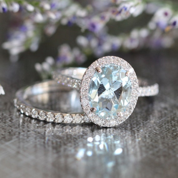 Halo Wedding Ring Set Aquamarine Engagement Ring And Half