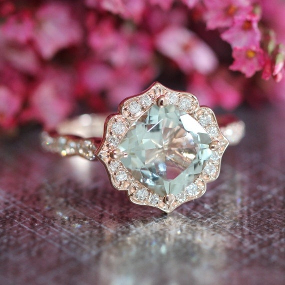 rose gold green amethyst diamond engagement ring in vintage. Black Bedroom Furniture Sets. Home Design Ideas