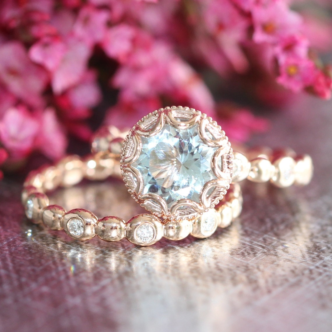 Floral Aquamarine Engagement Wedding Ring Set In By LaMoreDesign
