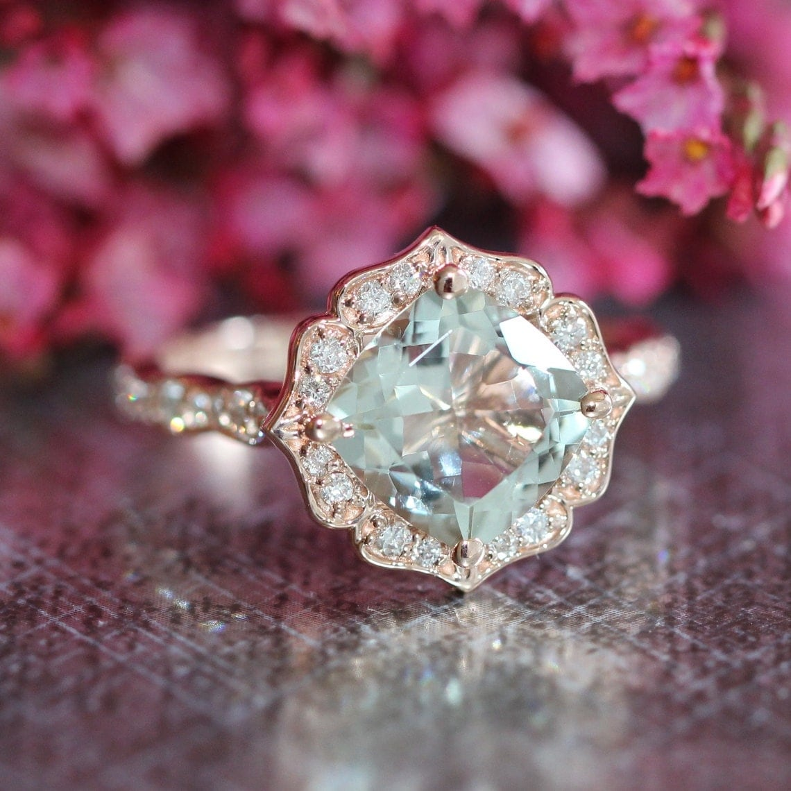 rose gold green amethyst diamond engagement ring in vintage. Black Bedroom Furniture Sets. Home Design Ideas