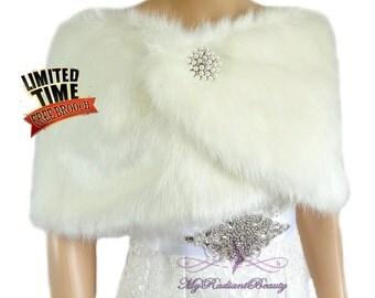 Ivory Faux Fur Wrap, Bridal Wrap, Bridal Shrug, Wedding Fur Stole, Bridal Fur Wrap, Bridal Stole, MyRadiantBeauty FW108-IVY