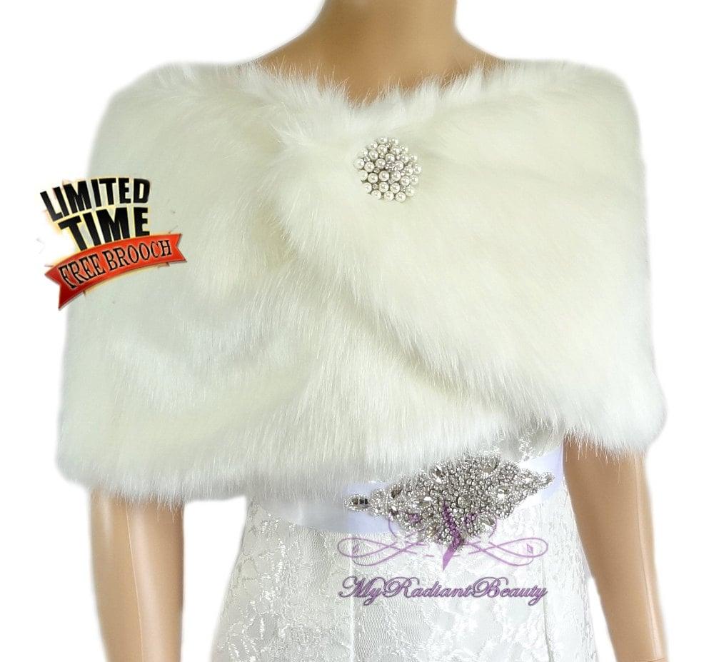 Ivory faux fur wrap bridal wrap bridal shrug wedding fur for Fur shrug for wedding dress