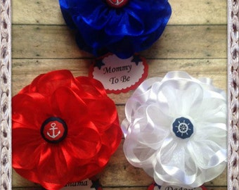 3 Nautical Baby Shower Corsage Mommy To Be Daddy To Be Grandma To Be or Any Name Nautical Theme Baby Shower Corsage