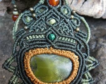 Aztec macramé pendant with Serpentine