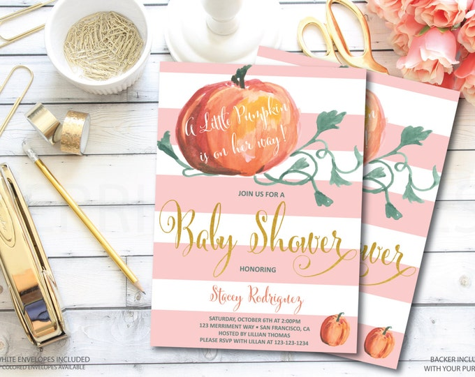 Pumpkin Baby Shower Invitation // Pink // Little Pumpkin // It's a Girl // Watercolor // Faux Gold Foil // Stripes // NEW ENGLAND COLLECTION