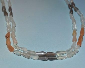 AA Grade Natural 5.5x10mm Multi colored Moonstone Teardrop Beads,- (2014048)