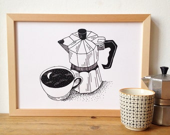 Limited Edition Silkscreen Illustration Print - Morning Coffee
