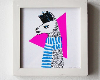 Limited Edition Silkscreen Illustration Print - Llama Punk