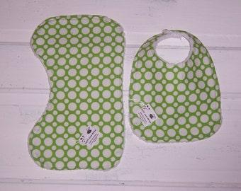 Lime Green/Chartreuse Polka Dot Baby Bib and Burp Cloth Set!  FREE SHIPPING !!!!!