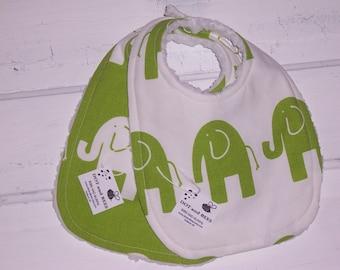 Adorable Green Elephant Baby Bib Set!   FREE SHIPPING!!!!!