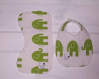 Green Elephant Baby Bib and Burp Cloth Set!  FREE SHIPPING !!!!!
