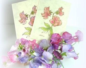 Flower card Handmade Watercolour SweetPea Gold embossed Letterpress Hand painted Sweet pea card Pastel Vintage card Blank card UK mcrtycards