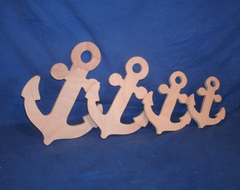 """birch wood Anchor unfinished,  6"""", wooden anchor, nautical"""