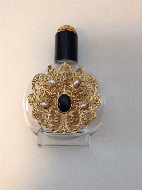 Vintage Bohemian Gold Filigree Perfume Bottle
