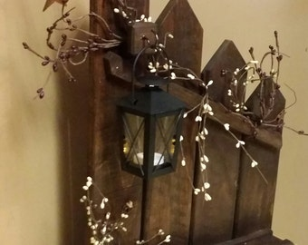 Primitive, lantern candle holder decor, Rustic reclaimed picket fence candle holder lantern,  cottage decor, home decor, country decor