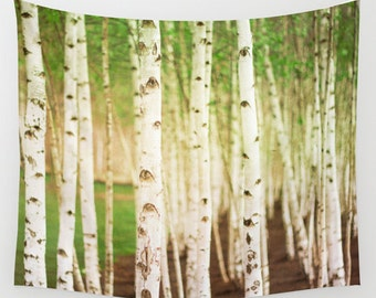 high quality wall tapestry, large size wall art, wall decor, photo tapestry, tapestry, wall hanging, green tapestry, birch tree, woodland