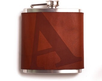 A Initial Monogrammed Leather Flask  – 6 oz stainless steel – hand-stitched