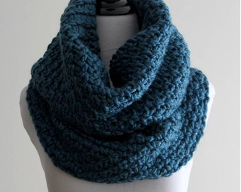 Over-sized cowl, Hand-knit cowl, Snood, Tube scarf, Hood cowl, Knit cowl in soft teal, chunky tube scarf, 50 % wool, Cozy softness