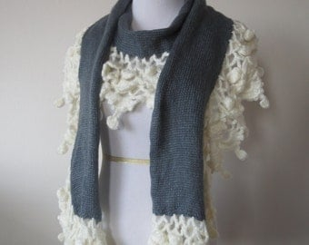 Hand Knitted Crochet Ruffles & Mohair Scarf Grey Color