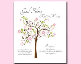 Baptism Gift from Godparents - Baby Girl Christening Gift - Personalized Keepsake - Gift for Godchild Baptism Tree