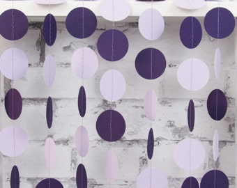 Purple Circle Garland - Lavender Paper Garland - Plum Wedding Decor - Lilac Birthday Party Decorations