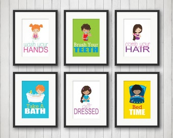 Gentil Kids Bathroom   Kids Bathroom Decor   Sibling Bathroom Art   Bathroom Rules    Bathroom Art