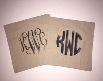 Iron on Monogram Decal - any fabric iron on