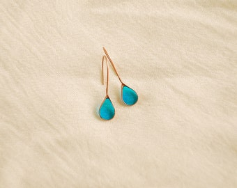 Earrings Drops. Drop earrings. Blue drops. Green drops. Glass drops.