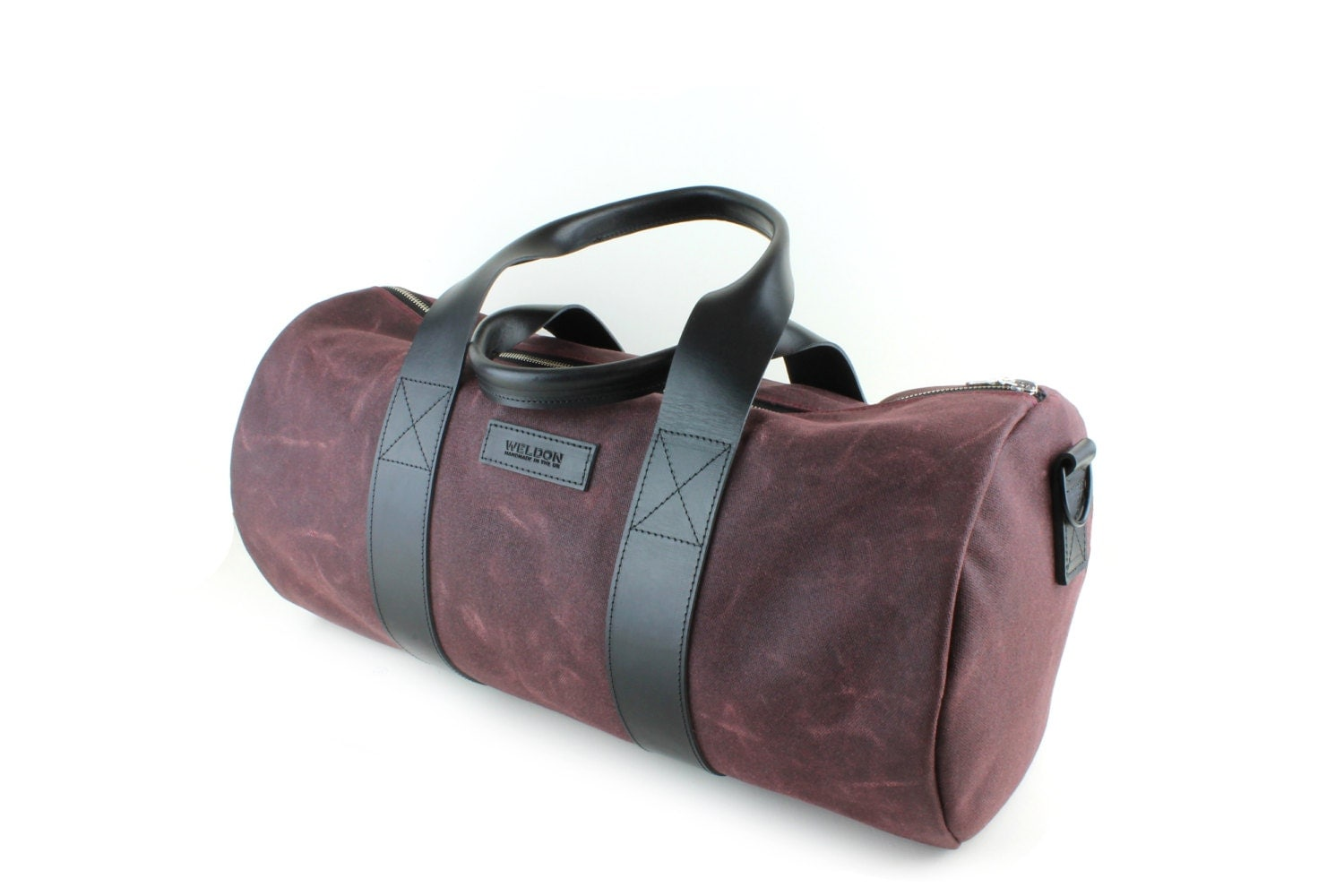waxed cotton leather duffle bag black leather trim. Black Bedroom Furniture Sets. Home Design Ideas