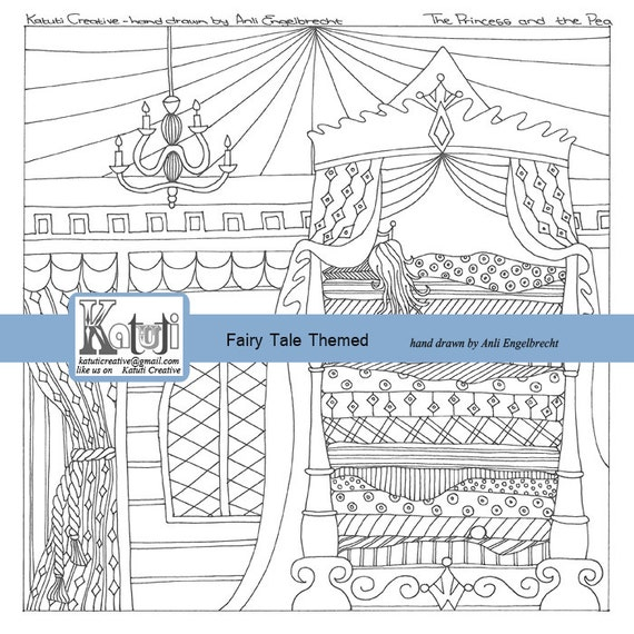 the princess and the pea coloring pages - adult coloring page the princess and the pea