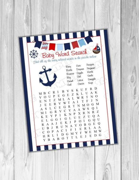 nautical anchor baby shower games word search baby game printable