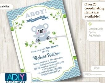 Boy Koala Baby Shower Invitation,Boy Bear baby shower in green, gray, blue chevron- digital file only - aa04bs