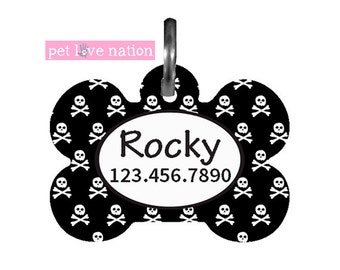 Personalized Pet Tag, Dog Tag, ID Tag, Scull Accent Pet Tag With Name And Phone Number