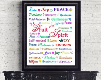 Bible Verse Christian art print wall decor printable fruit of the spirit INSTANT DOWNLOAD digital love joy peace Galatians 5:22 scripture