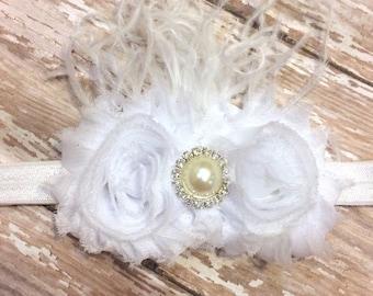 White flower headband, baptism headband, wedding headband