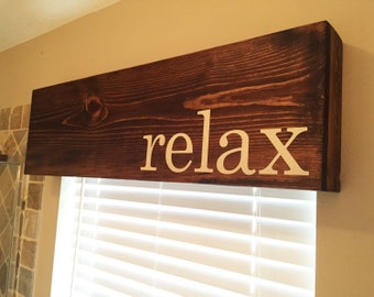 Wooden Window Cornice Valance Box - Customizable in color, text, and size