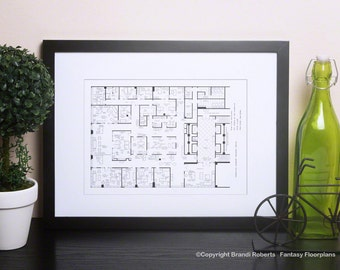 Mad Men Poster - TV Show Floor Plan - Blackline  Art for Offices of Sterling Cooper Draper Pryce - 37th Floor **Featured on NBC's Today Show