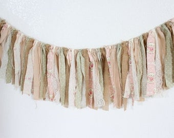 Shabby Chic Banner (Pink/Green/Burlap/Lace/Pearls)