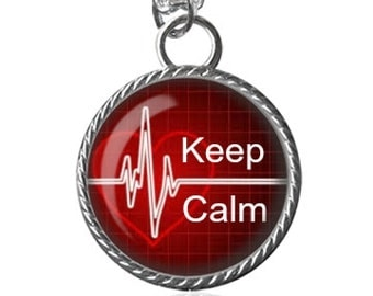 Keep Calm Necklace, Inspirational Quote, Heartbeat Image, Gifts For Her Pendant Key Chain Handmade