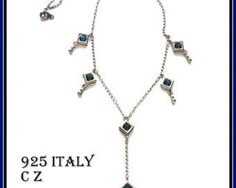 S A L E! LARIAT ITALY NECKLACE 925 Dark Blue C Z Dangles