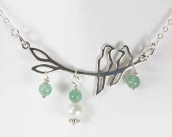 Sterling Silver Love Birds with Pearl and Green Aventurine Necklace