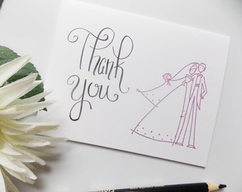 Wedding Thank You Cards - Custom Ink Color -  Thank You Card Pack of Ten - Thank You Card Set of 10 - Bride and Groom Thank You Cards