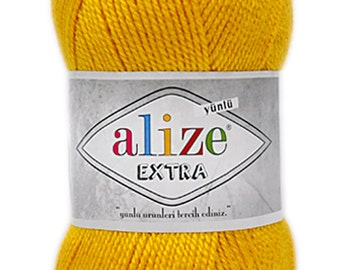 Alize EXTRA - High Quality Turkish Yarn 90% Acrylic and Wool, pack of 5 skeins. Free Shipping