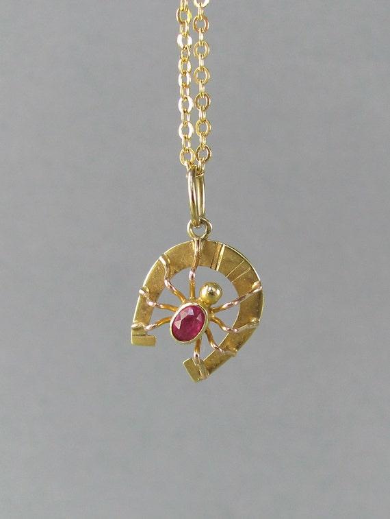 Ruby Spider On Horseshoe Pendant Necklace Vintage 14k Gold