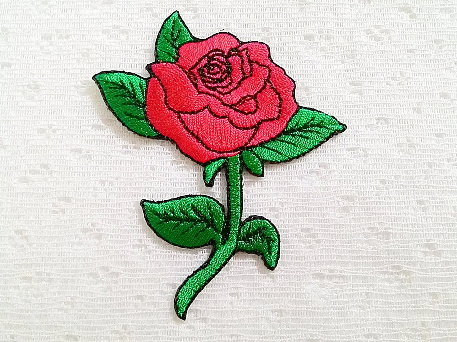 Red rose flower new sew iron on patch embroidered by