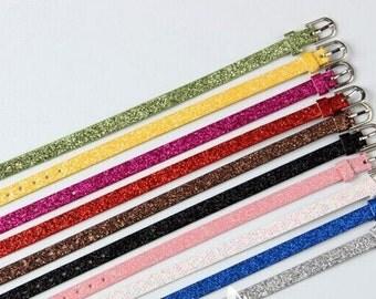 Wholesale 50pcs Adjustable Blank Glitter Powder Faux Leather Bracelet Strap Wristbands,Fit 8mm Slide Charm,DIY Bracelet Accessory