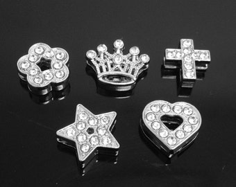 Wholesale 50pcs 8mm Silver tone Capital Letter Slider Spacer Beads Pendant Charm/Finding,Rhinestone Beads,Bracelet & Necklace Letter